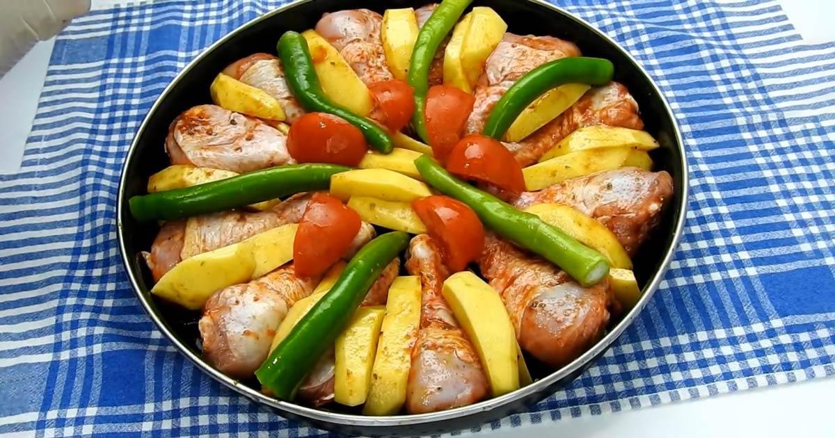 Fırında En Hızlı Sebzeli Tavuk Tarifi