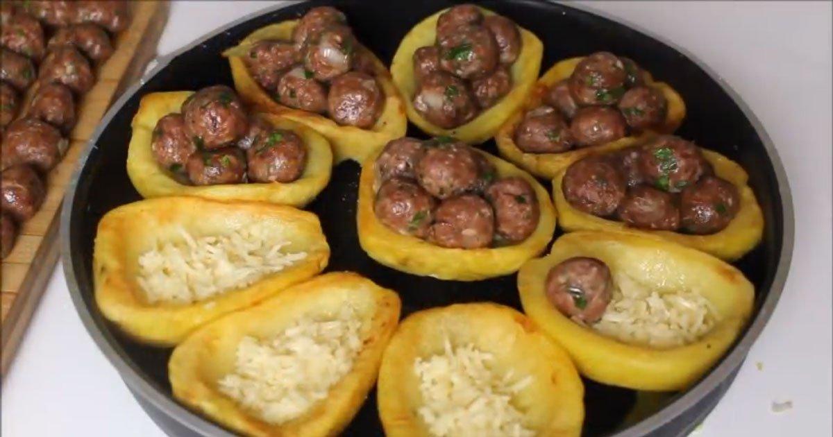 Fırında Misket Köfteli Patates Tarifi